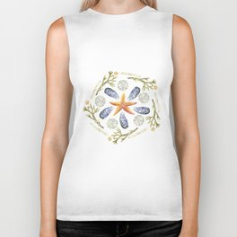 Tide Pool Beach Mandala 3 - Watercolor Biker Tank