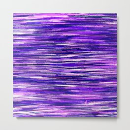 Purple Wavy Stripes Metal Print