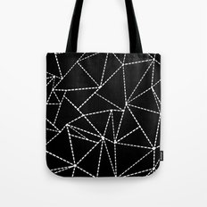 Abstract Dotted Lines White on Black Tote Bag