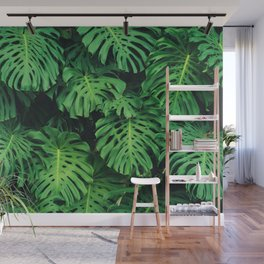 Monstera leaf jungle pattern - Philodendron plant leaves background Wall Mural