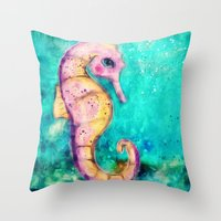 seahorse Throw Pillows featuring Seahorse by SannArt