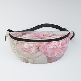 Shabby Chic Pink Peonies White Mirror Romantic Cottage Prints Home Decor Fanny Pack