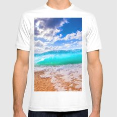 Blue Paradise Mens Fitted Tee MEDIUM White