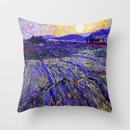 Lavender Fields with Rising Sun by Vincent van Gogh Throw Pillow