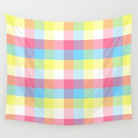 plaid Wall Tapestries featuring plaid pattern by mewdew