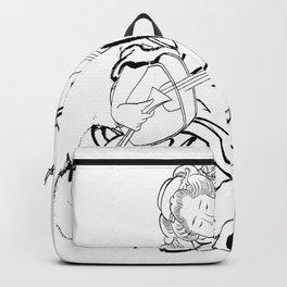 Hokusai, a woman and a shamisen -manga, japan,hokusai,japanese,北斎,ミュージシャン Backpack