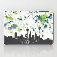 seahawks iPad Cases featuring Seahawks Seattle Skyline by Blythe Green