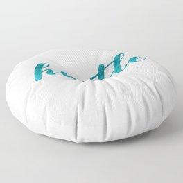 Blue Hustle Text Marble Floor Pillow