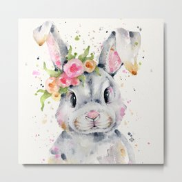Little Miss Bunny Metal Print