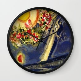Lovers in the sky over Nice, France by Marc Chagall Wall Clock