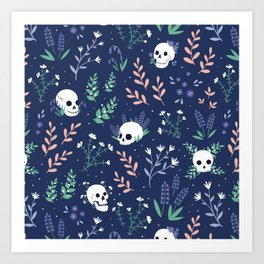 Skull Floral (Blue) Art Print