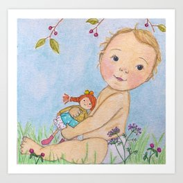 Baby and doll Art Print