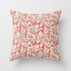 triangles color block in coral pink and orange Throw Pillow