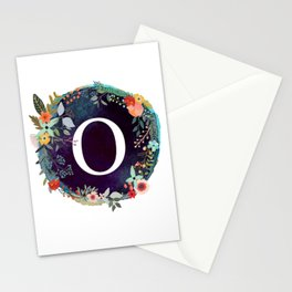 Personalized Monogram Initial Letter O Floral Wreath Artwork Stationery Cards