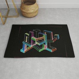 Geometric Black modern city Rug