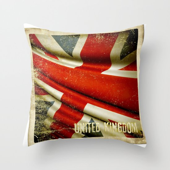 Sticker with UK flag Throw Pillow