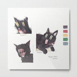 Black Cat Painting Metal Print