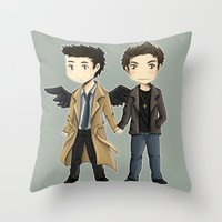 destiel Throw Pillows featuring Destiel  by agartaart