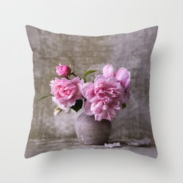 Floral Garden Rose Bouquet Throw Pillow