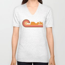 Retro Style Huntsville Alabama Skyline Unisex V-Neck