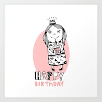 happy birthday Art Prints featuring Happy Birthday by De Assuncao création