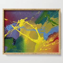 Uprising - Colorful Abstract art prints Serving Tray