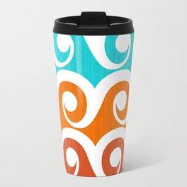 Wavy Pattern ~ Aqua Orange and Red Travel Mug