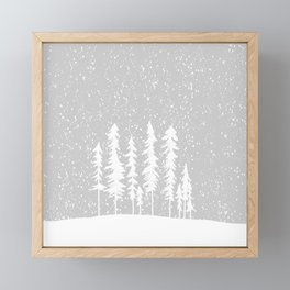 Snowy Winter Forest - Gray Framed Mini Art Print