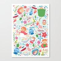 ponyo Canvas Prints featuring Ponyo Pattern - Studio Ghibli by Teacuppiranha