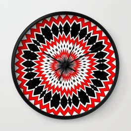 Bizarre Red Black and White Pattern Wall Clock