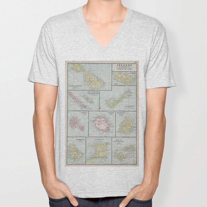 Vintage Map of Various Tropical Islands (1901) Unisex V-Neck