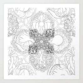 The Ocean's, Black and White Art Print