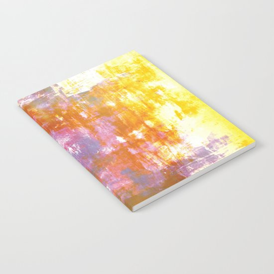 OFF THE GRID 3 Colorful Pastel Neon Purple Rust Yellow Abstract Watercolor Acrylic Textural Painting Notebook