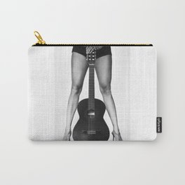 Guitar girl rocks! bw Carry-All Pouch