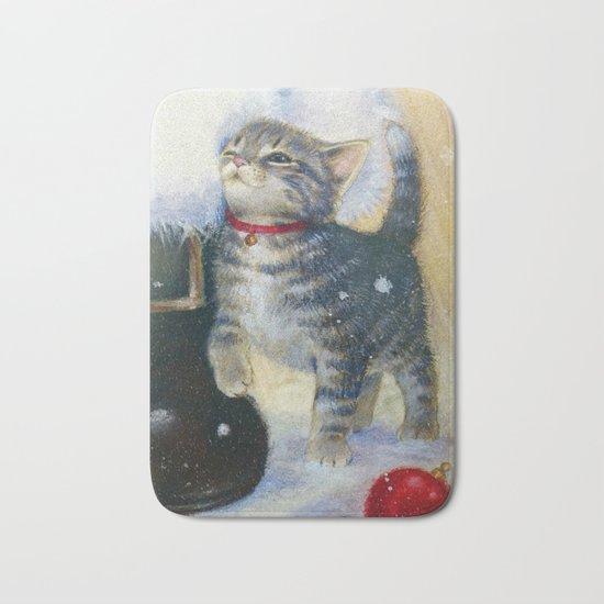 Kitten at Santa's Boot Bath Mat