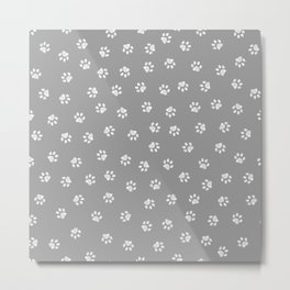 Doodle white paw print seamless fabric design repeated pattern with grey background Metal Print