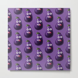 Funny Cartoon Eggplant Pattern Metal Print