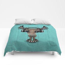 Cute Musical Moose Dj Wearing Headphones Blue Comforters
