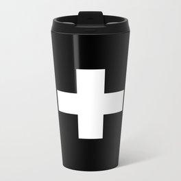 Swiss Cross Black and White Scandinavian Design for minimalism home room wall decor art apartment Metal Travel Mug