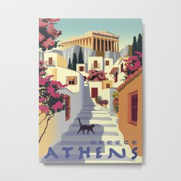 Athens Greece Vintage Travel Poster Commercial Air Travel Poster Metal Print