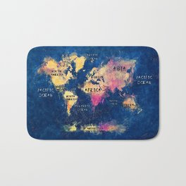 world map oceans and continents 2 Bath Mat