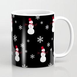 Snowman and Snowflakes on Black Coffee Mug