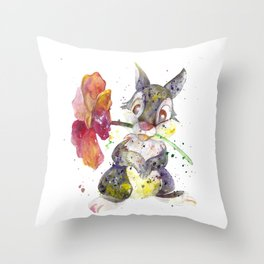 Thumper With Flower Throw Pillow