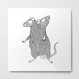 Two Headed Rat, I Love You Metal Print