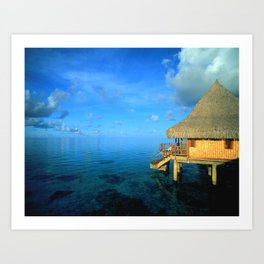 Over-the-Water Island Bungalow Art Print