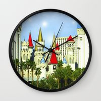 las vegas Wall Clocks featuring Vegas by Peaky40