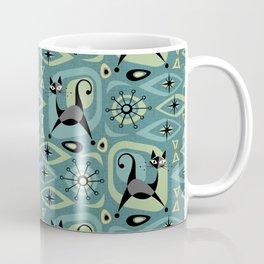 Mid Century Cat Abstract - Blue Coffee Mug