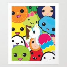 Kawaii Party Collage Art Print