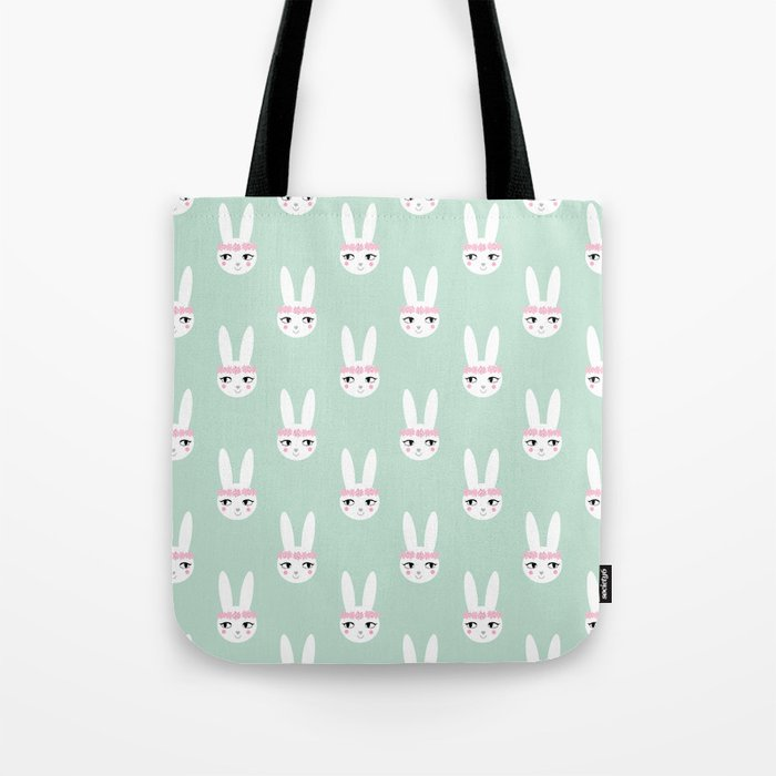Bunny Rabbit mint spring cute character illustration nursery kids minimal floral crown Tote Bag
