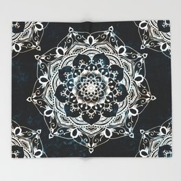 Glowing Spirit Mandala Blue White Throw Blanket